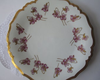 Antique French Limoges Blakeman & Henderson Lilac and Gold Floral Serving Plate