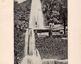 1900 San Antonio Texas Artesian Well Black and White Print