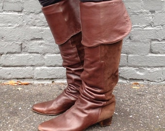 size 39.5, Vintage 1980s Brown Leather and Suede Thigh High Boots - Two Tone, OTK, Over the Knee, Rocker Chic - Salmaso