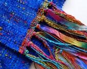 handwoven scarf in brilliant blue