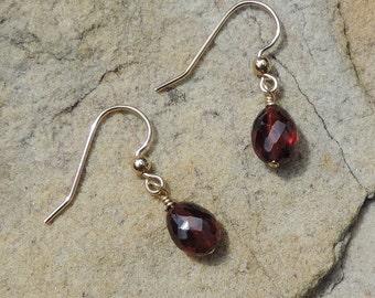 Simple red garnet faceted beads earrings