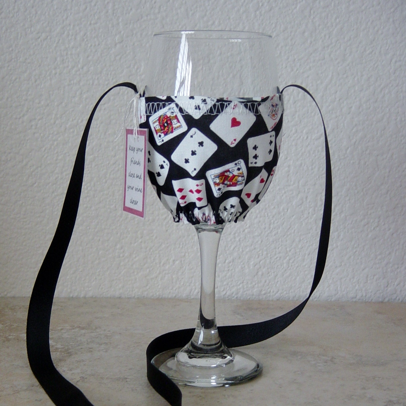 Wine Glass Cozy Necklace Playing Cards FabricCasinoGift for