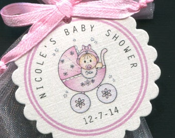 Personalized Baby Girl Baby Shower Favor Tags, Baby Girl In Pink Buggy, Set Of 50 Round Scallop Tags