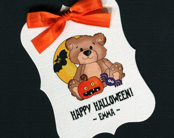 Large Personalized Halloween Favor Tags, teddy bear with moon, pumpkin, bat and spider, set of 25