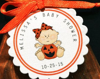 Halloween Themed Personalized Baby Shower Favor Tags, baby girl in a pumpkin with orange bow, set of 25