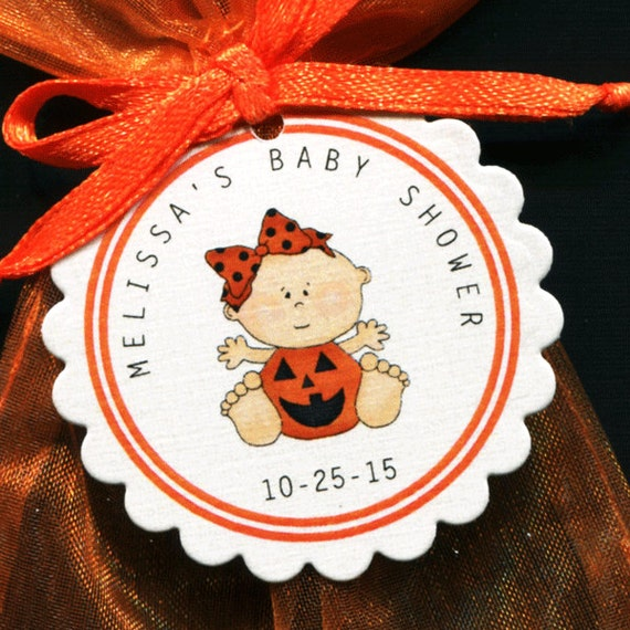 halloween themed personalized baby shower favor tags baby girl in a
