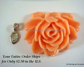 SALE - Peach Resin Cabochon Pendant Flower 45x34x17mm - Bail Included - 1 pc - MS11038P-P1