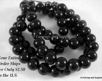74 Black Glass Pearls 6mm Beads - 14 inch - 5168