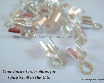 24 Silver Cord Ends 10x5mm fits 2-4mm Cord Silver Plated Brass - 24 pc - 6262-16