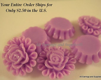 6 Orchid Resin Cabochon Beads Flower Fushia 13mm - No Holes - 6 pc - CA2012-OD6
