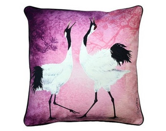 Cushion cover for throw pillow with bird - Dancing Cranes - 16x16inch // 40x40cm