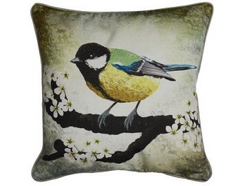 Cushion cover for throw pillow with bird - Great tit - 16x16 inch 40x40cm
