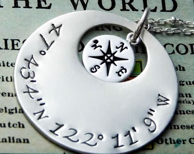 Featured listing image: Latitude Longitude Personalized Pendant
