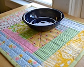 Quilted Log Cabin Style Patchwork Floral Yellow Green Table Runner Dresser Mat Summer Cottage Table Mat