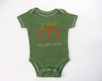 Baby's Carrot One Piece, Vegetable Garden Shirt, Hand Dyed and Painted Bodysuit or  Romper