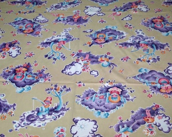 SALE vintage 70s polyester fabric featuring adorable children's print, 1 yard, 12 inches