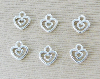 6 Sterling Silver Heart Dangle Tiny Charm Accent Love Valentine