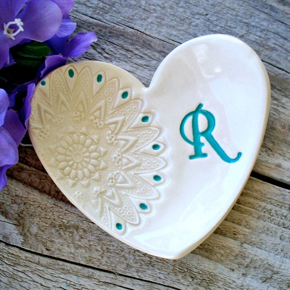 Heart shaped gift dish with lace imprint by sayyourpiece for Heart shaped jewelry dish