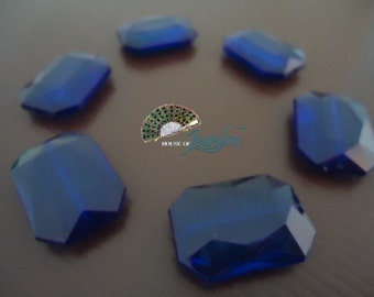 LARGE Faceted Rectangle, Octagon Acrylic Beads, Transparent, Dark Royal BLUE Color- 6x