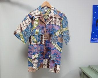 Vintage 70s Hawaiian Shirt Made in Hawaii Reverse Print Tapa Bark Cloth