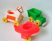 Vintage Fisher Price Nursery Little Riders Riding Toy from 1980's Little People Horse Airplane Wagon