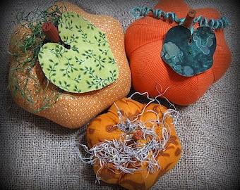 pumpkins, fabric pumpkins, Fall, wedding, nursery, office decor - formal brights - set of 3 p U m P k I nS with 1 set of bling - 72