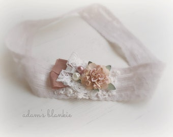 Angelina - Light Taupe Gray Cream Brown Lace Headband -  Vintage Style - Flower Pearls - Girls Newborns Baby Infant Adults