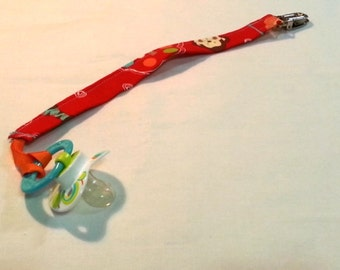 Pacifier Holder with Animals in Red