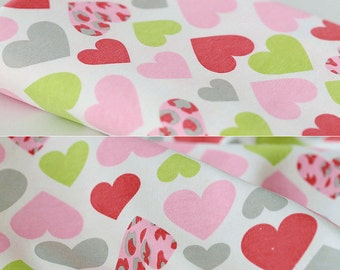 3745 - Colorful Heart Cotton Jersey Knit Fabric - 68 Inch (Width) x 1/2 Yard (Length)