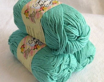 AQUA green 100% cotton yarn, Creme de la Creme Cotton Yarn,  worsted weight