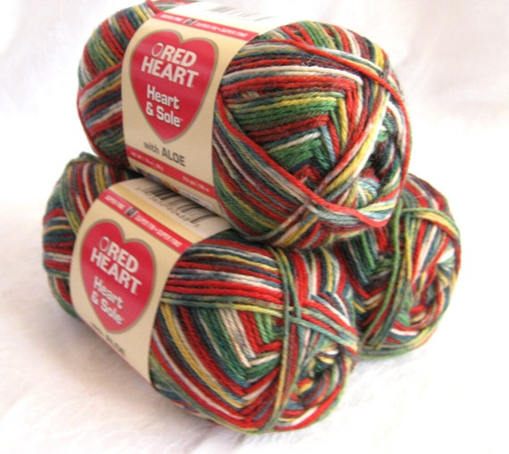 Superwash wool sock yarn, Heart and Sole Christmas Stripe