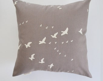 Organic Pillow Cover Gray Pillow Light Grey Bird Pillow Flock of Birds Pillow Flight Organic Cotton Color Choices
