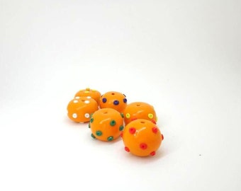 Orange Spotted Beads with Green White Red Yellow and Purple Polka Dots Beads  a set of 6 Polymer Clay Beads