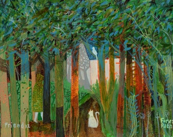Forest Path. A ltd edition, numbered and signed A4 print from an Original Painting by Richard Friend
