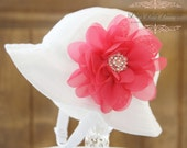 Sun Hat For Baby Girl - Girl Sun Hat With Flower - Baby Bucket Hat ( Removeable) Hot Pink Flower Clip White Sun Hat- Fits (You Pick Size)