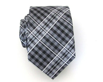Black Tie. Mens Ties. Necktie Black and Gray Plaid Mens Tie