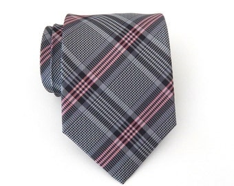 Necktie Gray and Pink Plaid Mens Tie