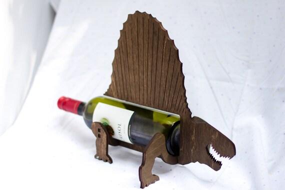 Wine o saur wooden dinosaur wine rack dimetrodon - Dinosaur wine holder ...