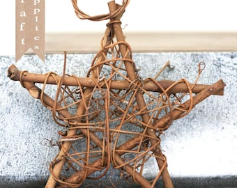 2 Grapevine Star Twig Decorations 6""