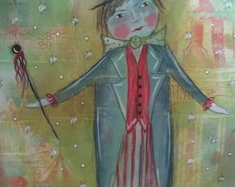 SALE Original Mixed Media Circus Painting PFATT