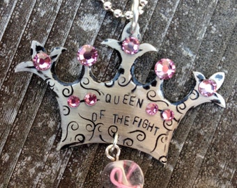 Queen of the Fight Breast Cancer Necklace
