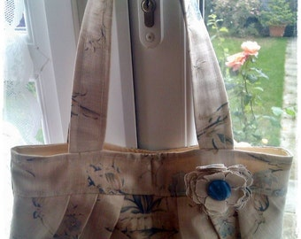 Shoulder Bag made from Blue Floral Linen with a Corsage trim