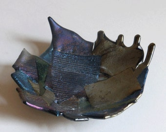 Fused glass bowl - iridescent art  glass