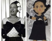 Billie Holiday , Miniature, famous people, felt dolls, child friendly, bendable, Art doll, historical doll, jazz singer,
