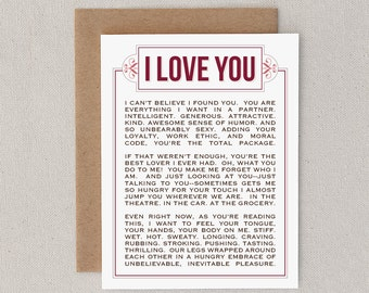 "Love Card. Funny. Naughty. Mature. Adult. For Boyfriend, Girlfriend, Husband, Wife, Lover. Paper, Print. ""Why Wearing Clothes"" (CLV-S004)"