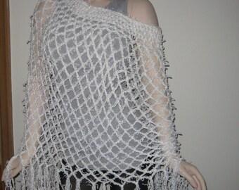 Sale White Crochet Poncho