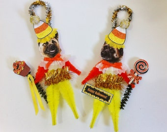 Akita HALLOWEEN candy corn vintage style CHENILLE ORNAMENTS set of 2