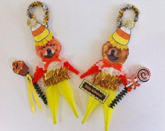 Chow Chow HALLOWEEN candy corn vintage style CHENILLE ORNAMENTS set of 2