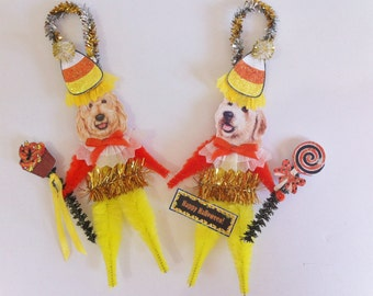 Goldendoodle HALLOWEEN candy corn vintage style CHENILLE ORNAMENTS set of 2