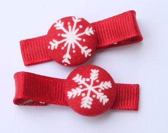 SNOWFLAKES........2 Button Hair Clips